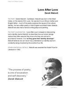 Preview of English: Poet Backgrounds: Derek Walcott [Love After Love]