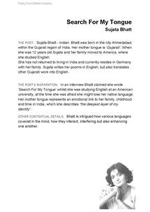 Preview of English: Poet Backgrounds: Sujuta Bhatt [Search For My Tongue]