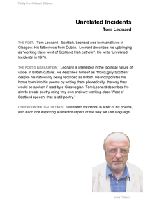 Preview of English: Poet Backgrounds: Tom Leonard [Unrelated Incidents]