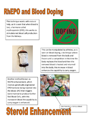 blood doping essay Blood doping blood doping is an artificial performance enhancement used for a better performance in any sport there are many different types of drugs to.