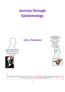 Preview of Epistemology Revision Notes: Perception