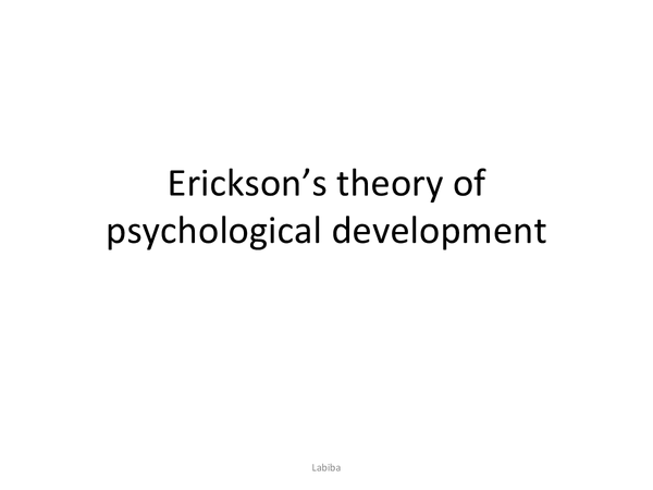 Preview of Erickson's theory of psychological development