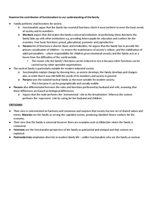 Preview of Essay plan for Examine the contribution of functionalism to our understanding of the family