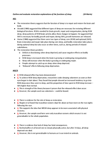 Preview of Essay Plan for Restoration Theory of Sleep