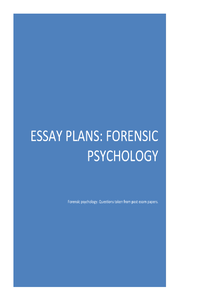 Preview of Essay plans for forensic psychology.