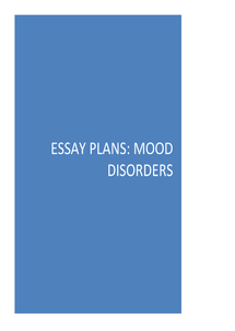 Preview of Essay plans for mood disorders (depression).