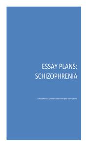 Preview of Essay plans for schizophrenia