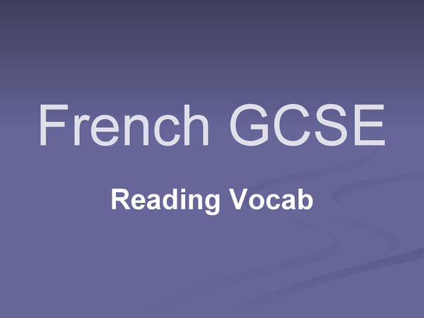 Preview of Essential GCSE French Vocabulary