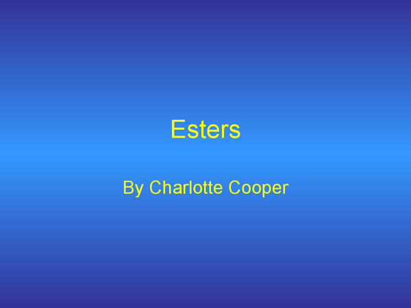 Preview of Esters