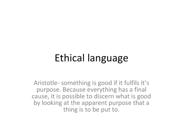 Preview of Ethical language