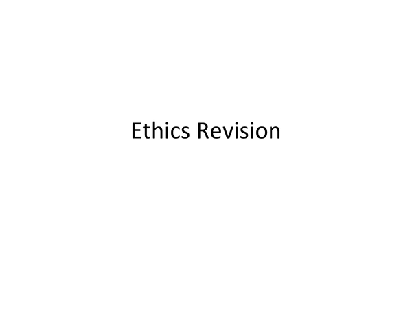 Preview of Ethics Revision