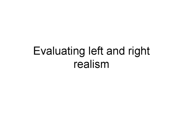 Preview of Evaluating Left and Right Realism - Power and Control