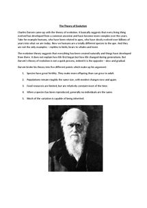 Preview of Evolution - Charles Darwin