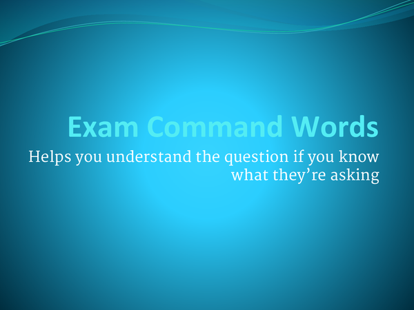 Preview of Exam Command Words