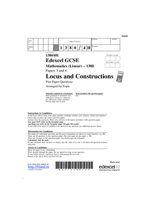 Preview of Exam Questions on Locus and Constructions
