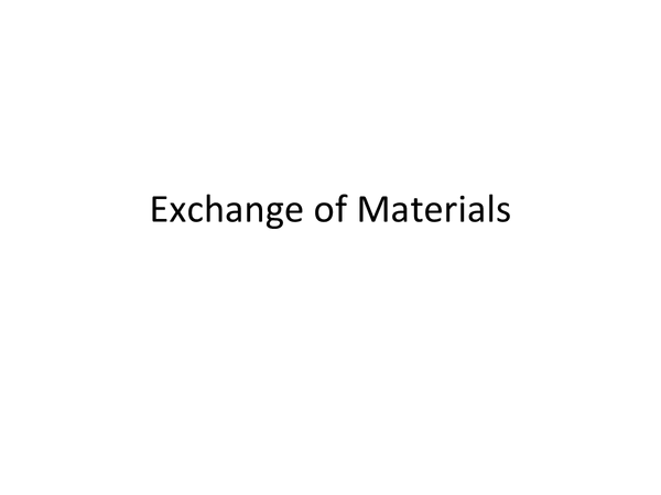 Preview of Exchange of Materials