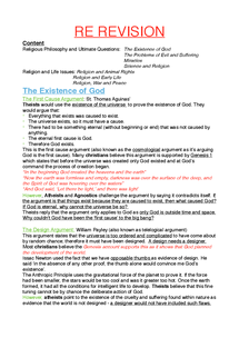 Preview of Existence of God - Revision Notes