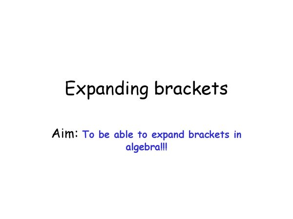 Preview of Expanding Brackets