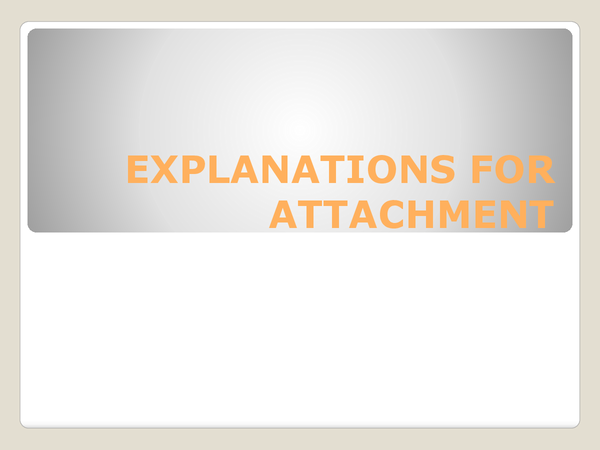 Preview of Explanations of attachment