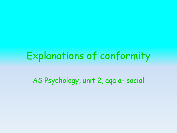 Preview of explanations of conformity