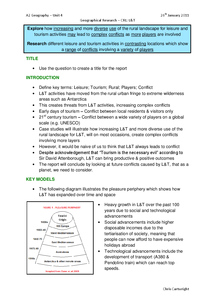 Preview of Explore how increasing and more diverse use of the rural landscape for leisure and tourism activities may lead to complex conflicts as more players are involved - Edexcel A2 Geography Unit 4 Essay Plan