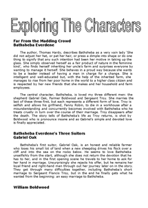 Preview of Exploring the Character of Bathsheba Everdene - Far From the Madding Crowd