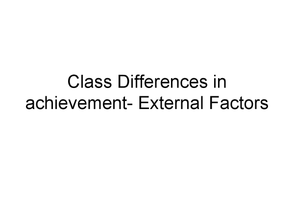 Preview of External Class differences in Education