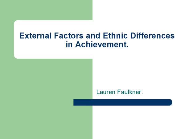 Preview of External Factors in Ethnicity