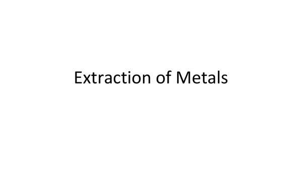 Preview of Extraction of Metals