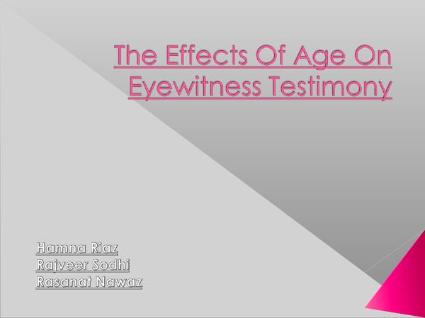 Preview of Eye Witness Testimony PSYA1