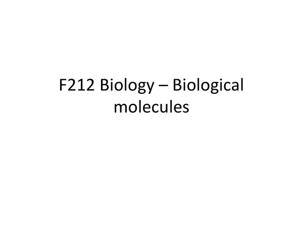 Preview of F212 - Biological molecules