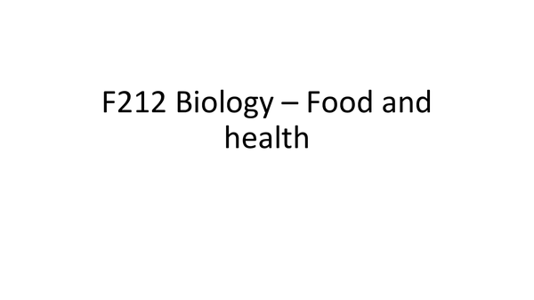 Preview of F212 - Food and Health