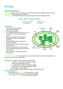 Preview of F214: Photosynthesis revision notes