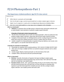 Preview of F214:The importance of Photosynthesis class notes make simple!