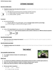 Preview of OCR AS Chemistry (F321.1) - Atoms and Reactions Revision Notes