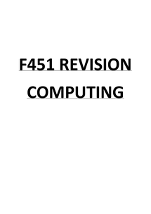 Preview of F451 Computing Revision Booklet