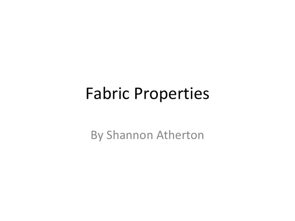 Preview of Fabric Properties Powerpoint