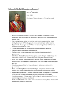 Preview of Fact file on Nicholas II