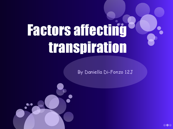 Preview of factor effecting transpiration