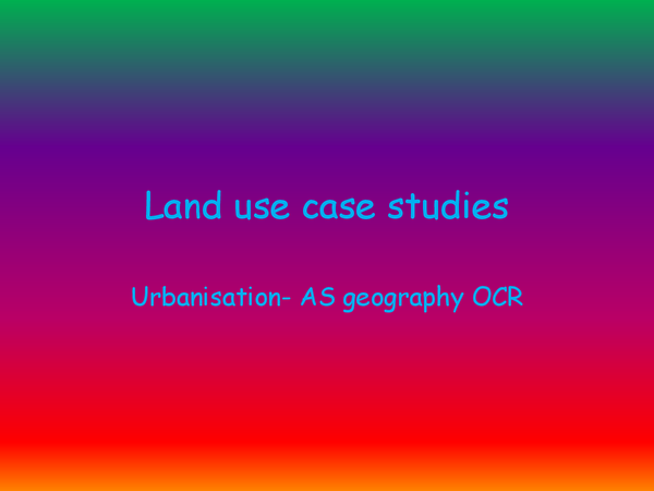 Preview of factors affecting land use case studies