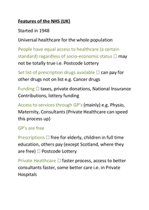 Preview of Features of the NHS
