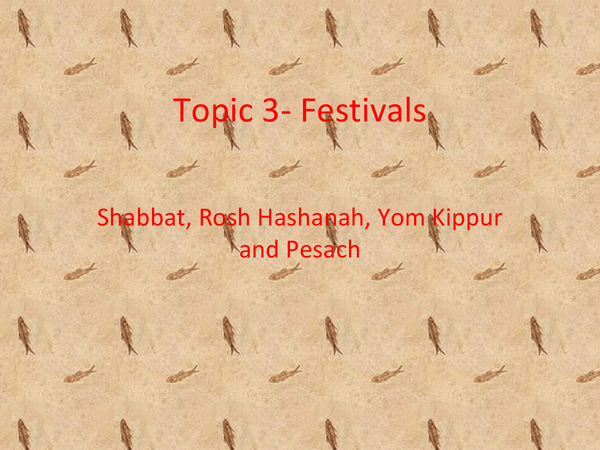 Preview of Festivals- Judaism