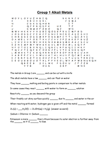 Preview of Fill in the gaps wordsearch - Alkali metals