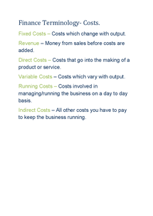 Preview of GCSE Business Finance - Costs Terminology