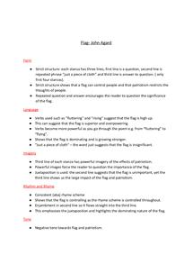 Preview of Flag- John Agard Analysis