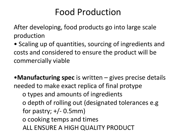 Preview of Food Production/ CAD/CAM