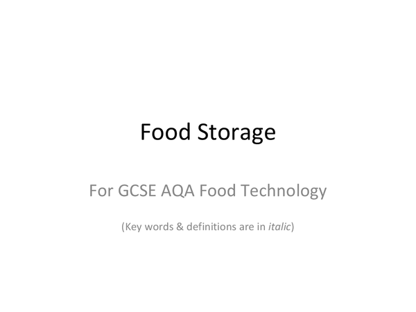 Preview of Food storage