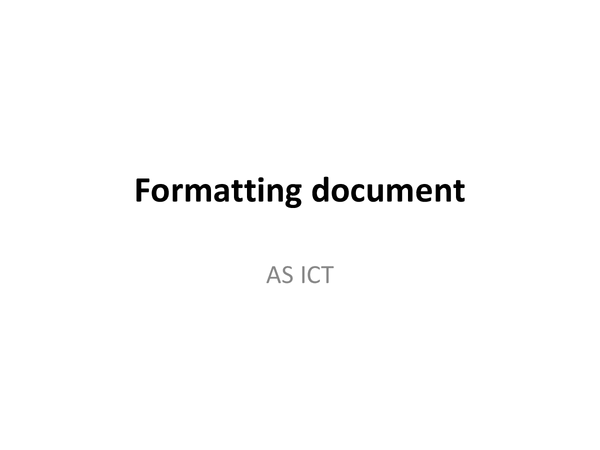 Preview of Formatting Documents