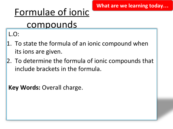 Preview of 1.3 Formulae and ionic compounds