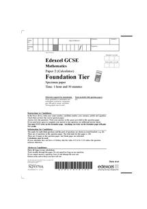 Preview of Foundation Specimen Paper, Edexcel